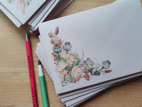 Envelope #013: retro watercolor flowers