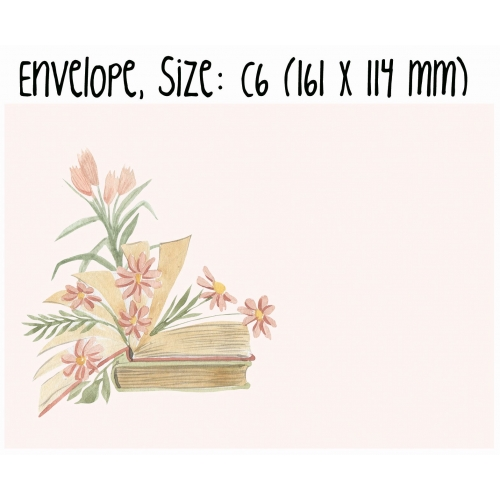 Envelope #014: book and flowers