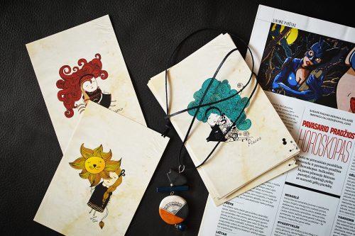 12 Zodiac signs postcard set