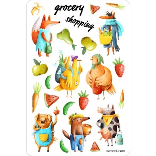 Sticker sheet #031: grocery shopping