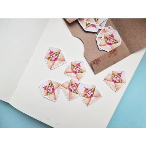 Set of 10 stickers: cute watercolor envelopes