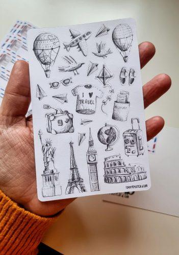 Sticker sheet #032: Travel sketches